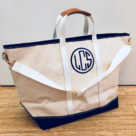 Embroidered Monogram Boulevard Avery Jumbo Tote Navy