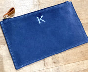 Embroidered Monogram Boulevard Suede Clutch