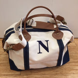 Embroidered Monogram Canvas Weekender Duffel Navy