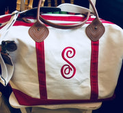 Embroidered Monogram Canvas Weekender Duffel Pink