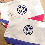 Embroidered Monogram Canvas Makeup Bag