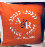 Embroidered Monogram Canvas Wedding Pillow Gift Shower Engagement