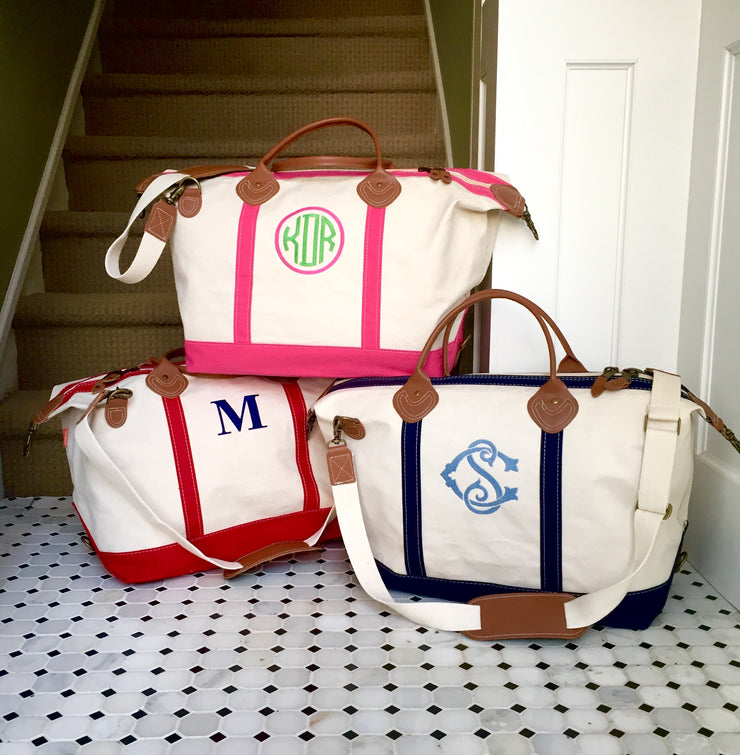Embroidered Monogram Canvas Weekender Duffel