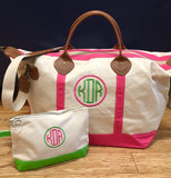 Embroidered Monogram Canvas Weekender Duffel and Makeup Bag