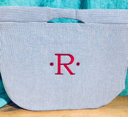 Embroidered Monogram Seersucker Large Cooler Tote