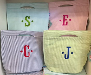 Embroidered Monogram Seersucker Stripe Small Cooler Tote