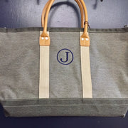 Embroidered Monogram Medium Denim Boat Tote