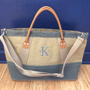 Embroidered Monogram Denim Carry-on Tan
