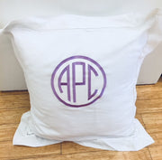Embroidered Monogram Linen Euro Sham