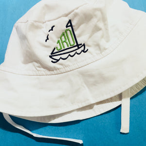 Embroidered Monogram Baby Sun Hat White UPF50+