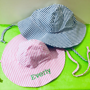 Embroidered Monogram Baby Floppy Hat UPF50+