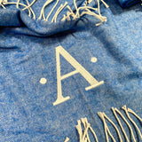 Embroidered Monogram Italian Herringbone Throw Blanket