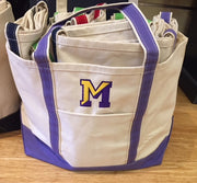 Embroidered Monogram Large Boat Tote Canvas