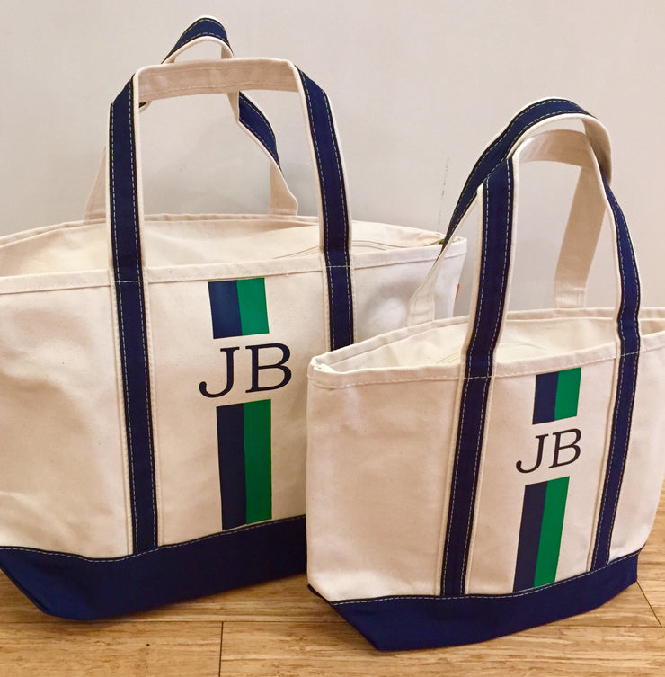 Large Boat Tote with Vinyl Stripe Monogram