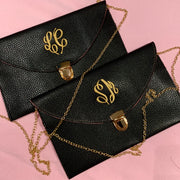 Embroidered Monogram Leather Clutch Black