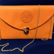 Embroidered Monogram Leather Clutch