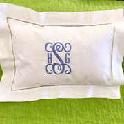 Embroidered Monogram Linen Boudoir Pillow Home Baby