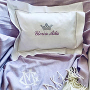 Embroidered Monogram Linen Boudoir Pillow