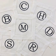 Embroidered Monogram Linen Cocktail Napkins