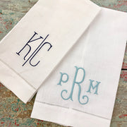 Embroidered Monogram Linen Guest Towel