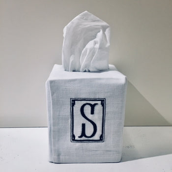 Embroidered Monogram Linen Tissue Box Cover
