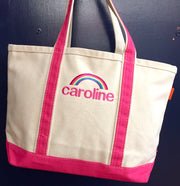 Embroidered Monogram Medium Canvas Boat Tote
