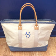 Embroidered Monogram Medium Denim Boat Tote Blue