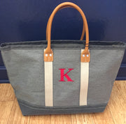 Embroidered Monogram Medium Denim Boat Tote Gray