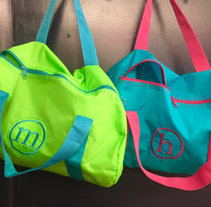 Embroidered Monogram Kids Nylon Duffel Bag