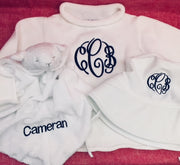 Embroidered Monogram Animal Luvie Rollneck Sweater Baby Swim Bucket Hat