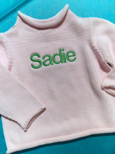 Embroidered Monogram Baby Rollneck Sweater