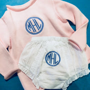 Embroidered Monogram Diaper Cover Rollneck Sweater