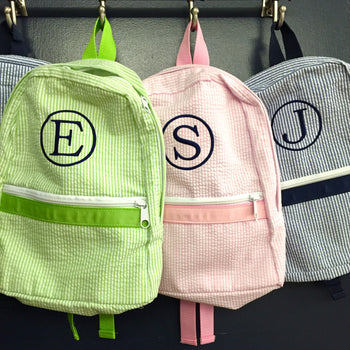 Embroidered Monogram Kids Seersucker Backpack