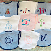 Embroidered Monogram Seersucker Baby Bib