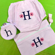 Embroidered Monogram Small Jewel Round Pencil Case Diaper Cover