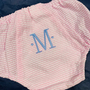 Embroidered Monogram Diaper Cover Seersucker