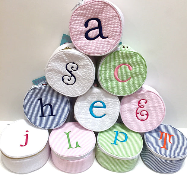Embroidered Monogram Large Jewel Round Home Travel