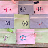 Embroidered Monogram Seersucker Stripe Cosmo Bag Pencil Case