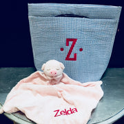 Embroidered Monogram Baby Animal Luvie and Seersucker Cooler Tote
