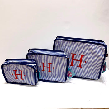 navy seersucker stacking set embroidered monogram
