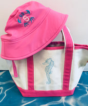 Embroidered Monogram Small Boat Tote