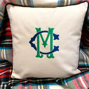 Embroidered Monogram Canvas Pillow