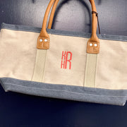 Embroidered Monogram Small Denim Boat Tote