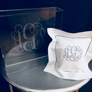 Embroidered Monogram Linen Square Pillow and Acrylic Tray