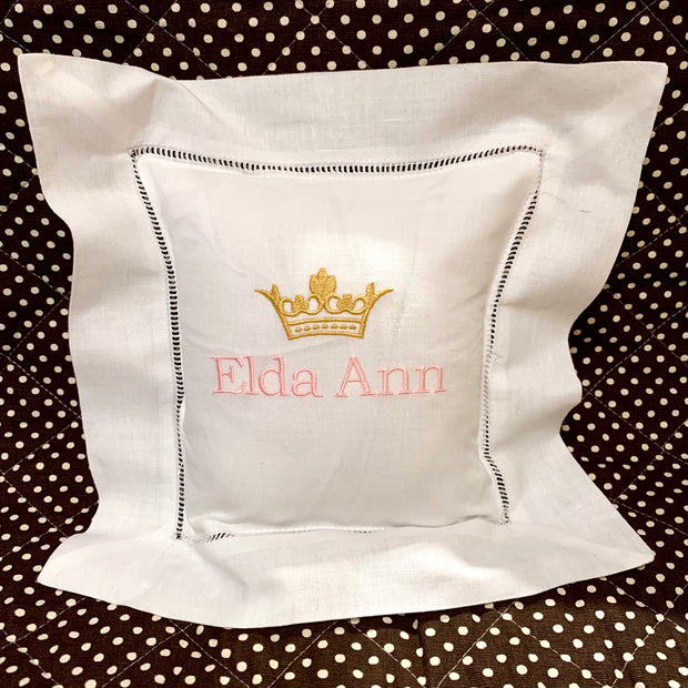 Embroidered Monogram Linen Square Pillow