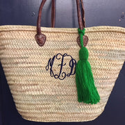 Embroidered Monogram Straw Market Basket