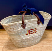 Embroidered Monogram Initial Straw Market Basket