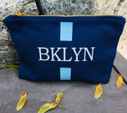 Monogram Stripe Zip Top Cosmetic Pouch Bag Brooklyn