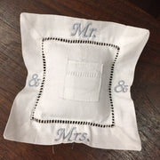 Embroidered Linen Ring Bearer Pillow