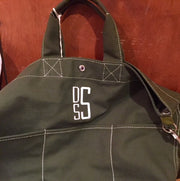 Embroidered Monogram Utility Canvas Bucket Pocket Tote Olive Green